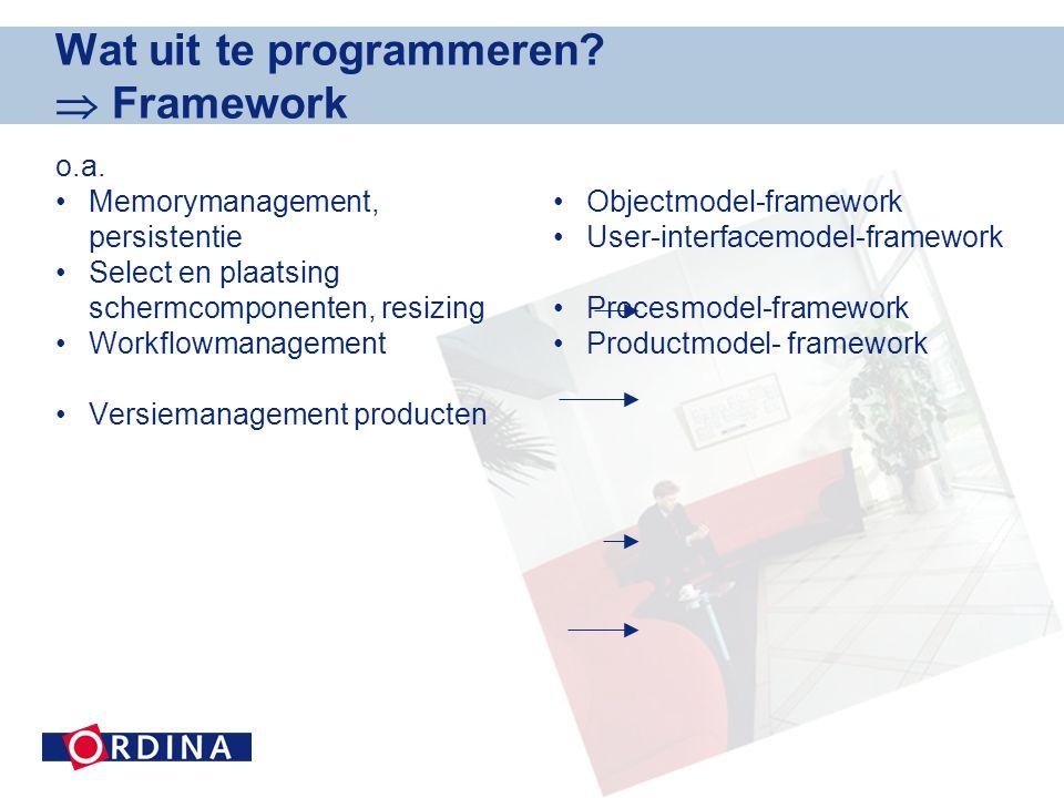 Wat uit te programmeren. Framework o.a.