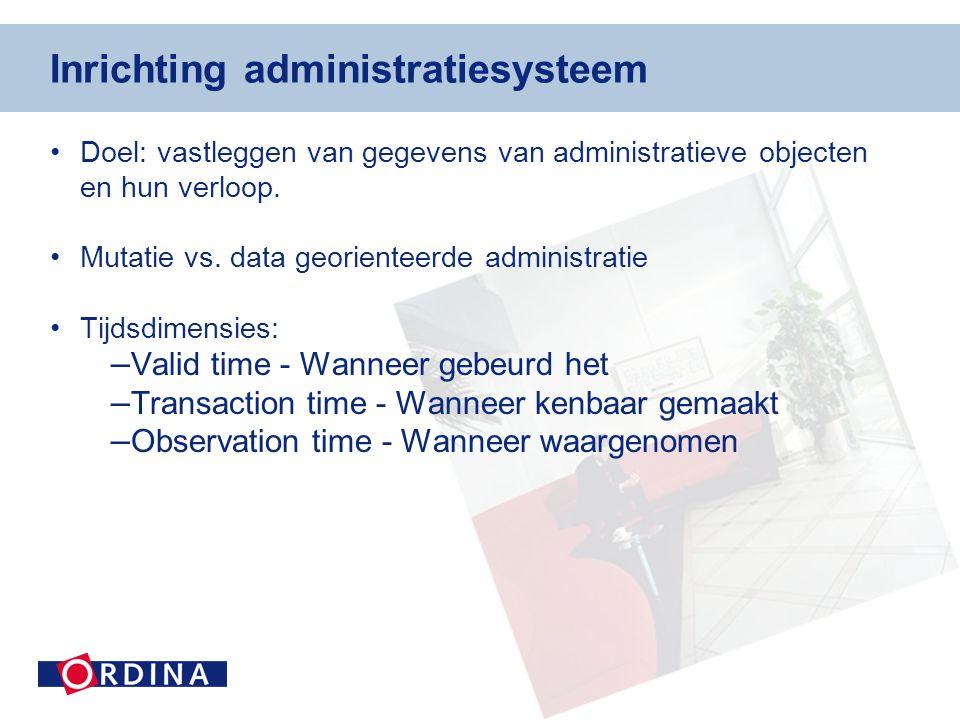 Inrichting administratiesysteem •Doel: vastleggen van gegevens van administratieve objecten en hun verloop.
