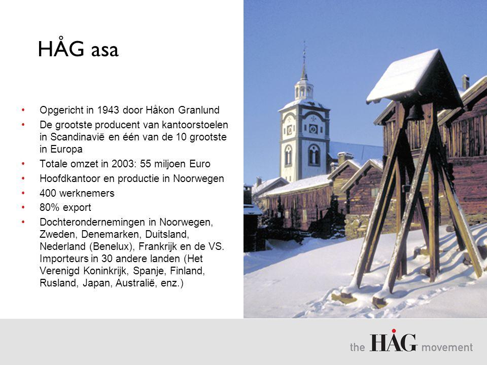 HÅG asa •Opgericht in 1943 door Håkon Granlund •De grootste producent van kantoorstoelen in Scandinavië en één van de 10 grootste in Europa •Totale om