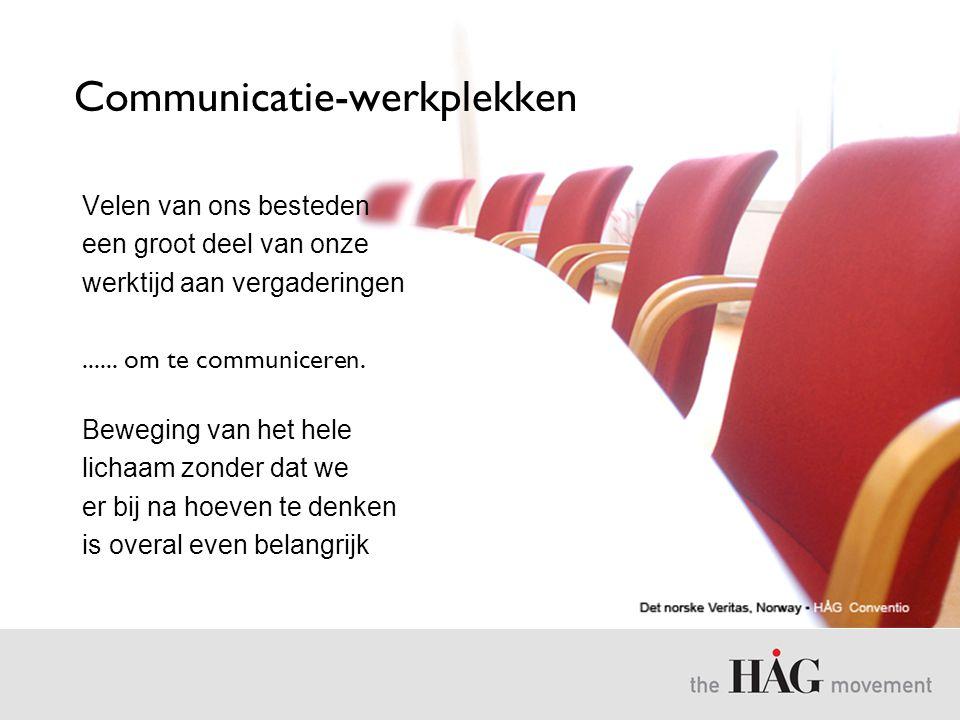 Communicatie-werkplekken Velen van ons besteden een groot deel van onze werktijd aan vergaderingen...... om te communiceren. Beweging van het hele lic