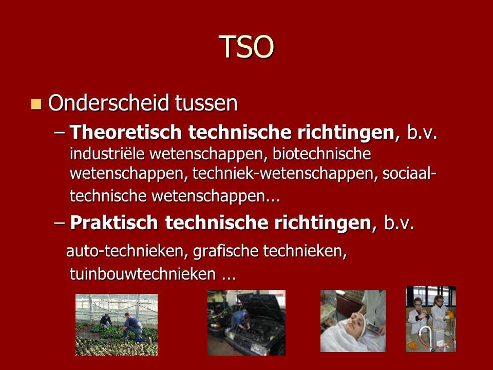 TSO  Onderscheid tussen –Theoretisch technische richtingen, b.v. industriële wetenschappen, biotechnische wetenschappen, techniek-wetenschappen, soci