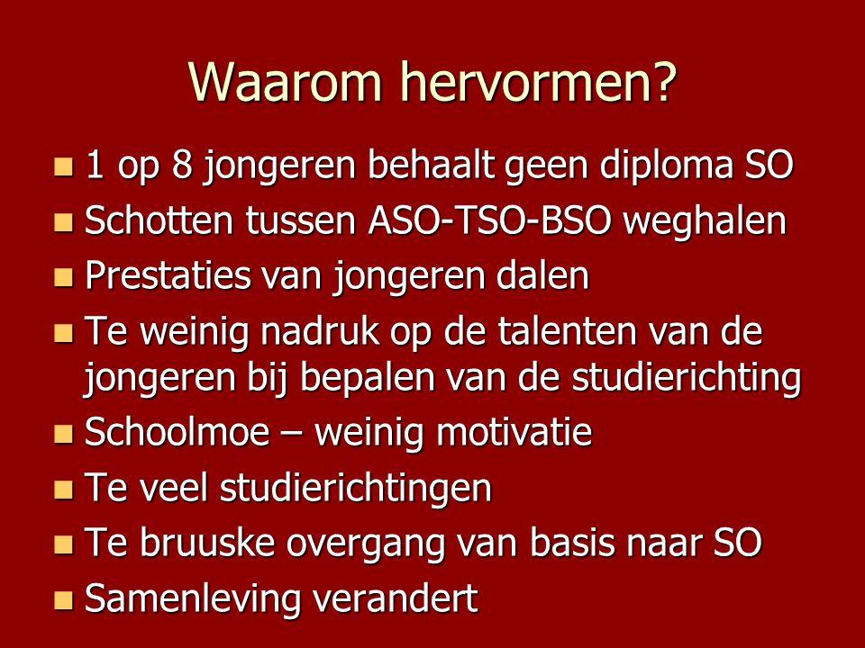 Waarom hervormen?  1 op 8 jongeren behaalt geen diploma SO  Schotten tussen ASO-TSO-BSO weghalen  Prestaties van jongeren dalen  Te weinig nadruk