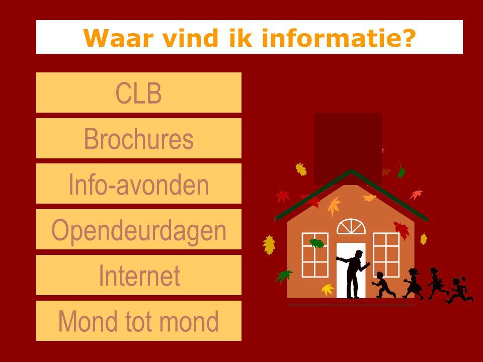 Brochures Opendeurdagen Info-avonden Internet Waar vind ik informatie? Mond tot mond CLB