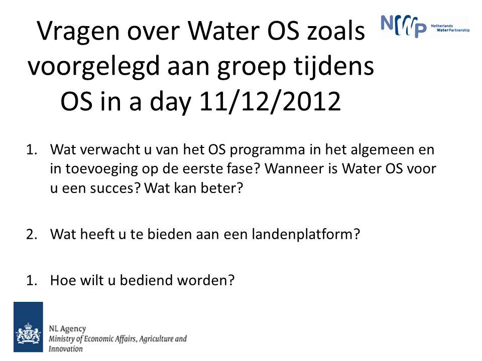 Vragen over Water OS zoals voorgelegd aan groep tijdens OS in a day 11/12/2012 1.Wat verwacht u van het OS programma in het algemeen en in toevoeging op de eerste fase.