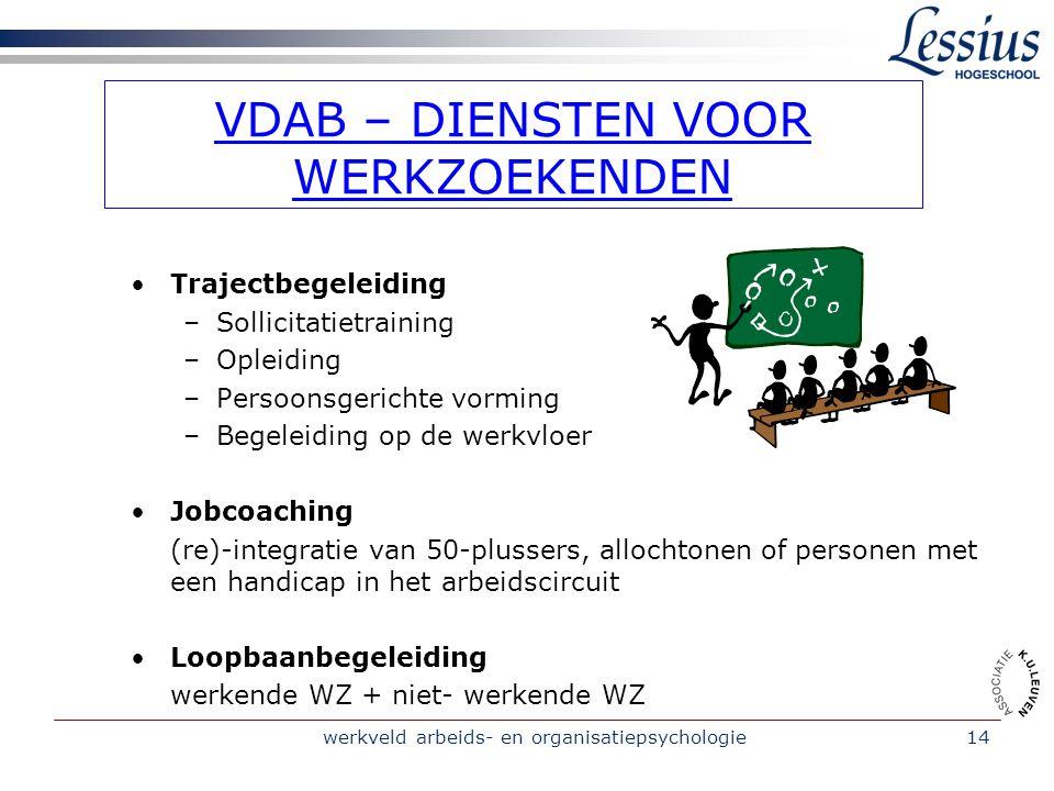 werkveld arbeids- en organisatiepsychologie14 VDAB – DIENSTEN VOOR WERKZOEKENDEN •Trajectbegeleiding –Sollicitatietraining –Opleiding –Persoonsgerichte vorming –Begeleiding op de werkvloer •Jobcoaching (re)-integratie van 50-plussers, allochtonen of personen met een handicap in het arbeidscircuit •Loopbaanbegeleiding werkende WZ + niet- werkende WZ
