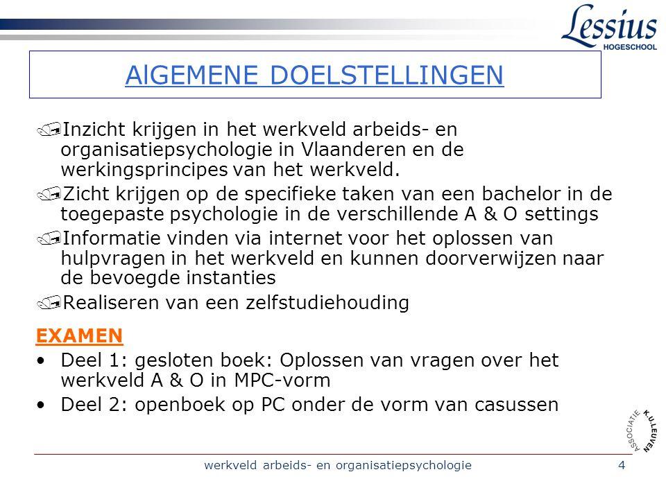 werkveld arbeids- en organisatiepsychologie4 AlGEMENE DOELSTELLINGEN /Inzicht krijgen in het werkveld arbeids- en organisatiepsychologie in Vlaanderen en de werkingsprincipes van het werkveld.