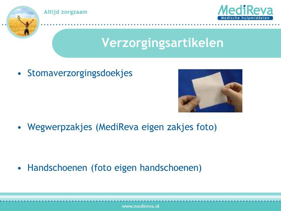 www.medireva.nl Serviceproducten •Stomamal van MediReva •Boek Een duik in het diepe •Stomaschaartje •Zwart tasje •Handschoenen •Scheermesjes (per 5 stuks) •Kleding clip •Wasbare onderlegger •Vakantiemapje
