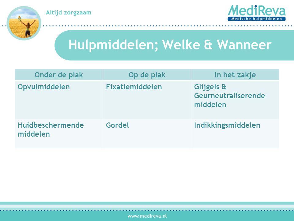 www.medireva.nl Hulpmiddelen; Welke & Wanneer Onder de plakOp de plakIn het zakje OpvulmiddelenFixatiemiddelenGlijgels & Geurneutraliserende middelen Huidbeschermende middelen GordelIndikkingsmiddelen