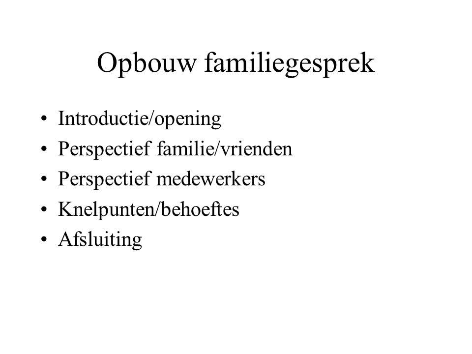 Opbouw familiegesprek •Introductie/opening •Perspectief familie/vrienden •Perspectief medewerkers •Knelpunten/behoeftes •Afsluiting