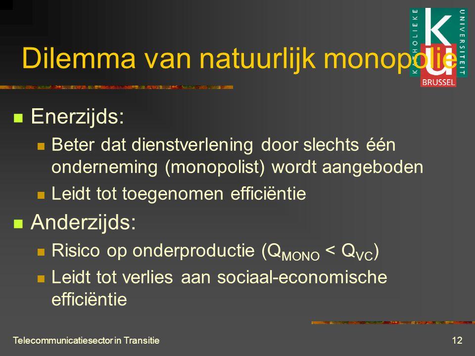 Telecommunicatiesector in Transitie12 Dilemma van natuurlijk monopolie  Enerzijds:  Beter dat dienstverlening door slechts één onderneming (monopolist) wordt aangeboden  Leidt tot toegenomen efficiëntie  Anderzijds:  Risico op onderproductie (Q MONO < Q VC )  Leidt tot verlies aan sociaal-economische efficiëntie