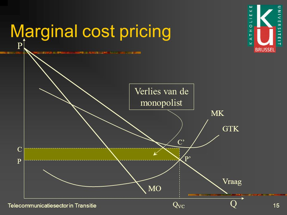 Telecommunicatiesector in Transitie15 Marginal cost pricing P Q MK GTK Vraag MO Q VC P P' C C' Verlies van de monopolist