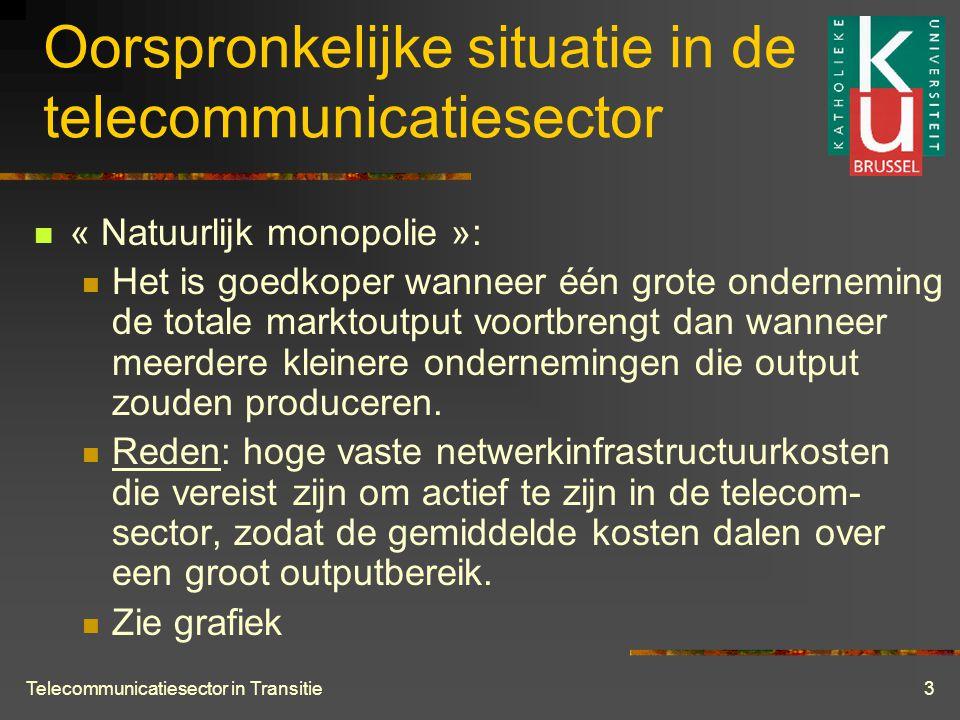 Telecommunicatiesector in Transitie3 Oorspronkelijke situatie in de telecommunicatiesector  « Natuurlijk monopolie »:  Het is goedkoper wanneer één grote onderneming de totale marktoutput voortbrengt dan wanneer meerdere kleinere ondernemingen die output zouden produceren.