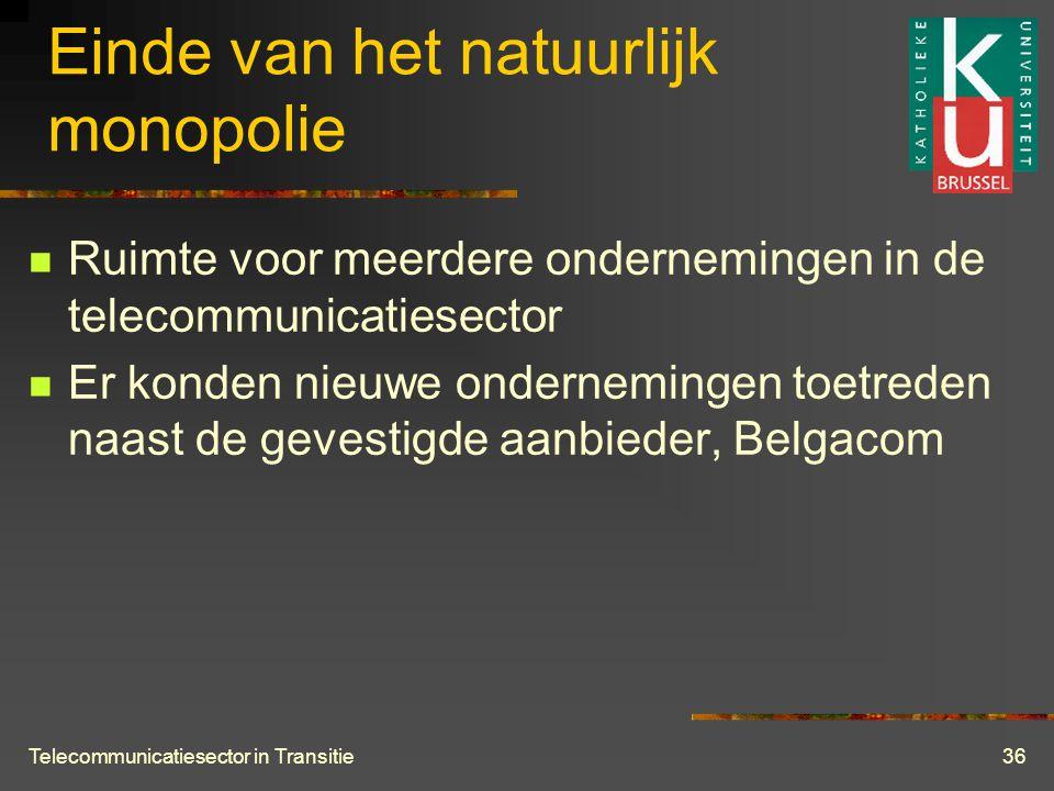 Telecommunicatiesector in Transitie36 Einde van het natuurlijk monopolie  Ruimte voor meerdere ondernemingen in de telecommunicatiesector  Er konden nieuwe ondernemingen toetreden naast de gevestigde aanbieder, Belgacom