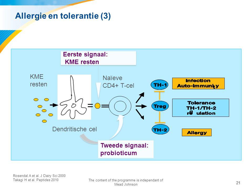 21 The content of the programme is independant of Mead Johnson KME resten Dendritische cel Naïeve CD4+ T-cel Eerste signaal: KME resten Eerste signaal