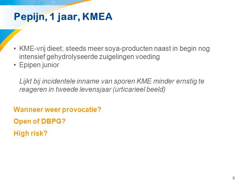 88 Pepijn, 1 jaar, KMEA •KME-vrij dieet; steeds meer soya-producten naast in begin nog intensief gehydrolyseerde zuigelingen voeding •Epipen junior Li