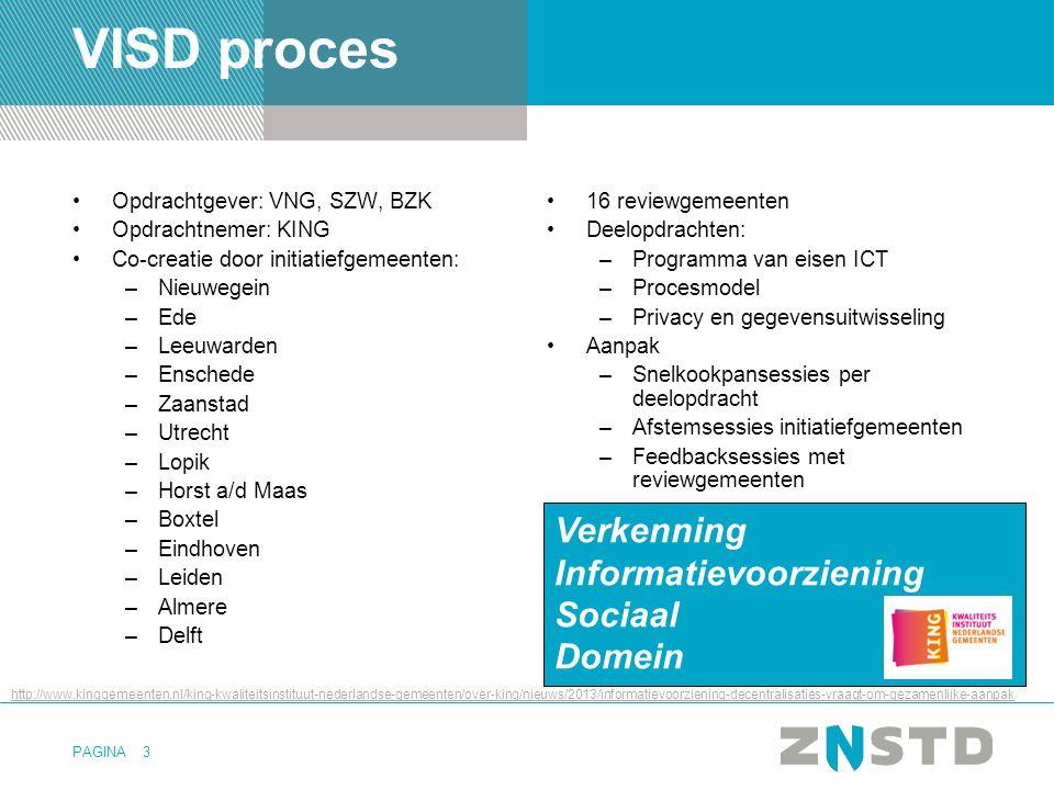 PAGINA3 VISD proces •Opdrachtgever: VNG, SZW, BZK •Opdrachtnemer: KING •Co-creatie door initiatiefgemeenten: –Nieuwegein –Ede –Leeuwarden –Enschede –Z