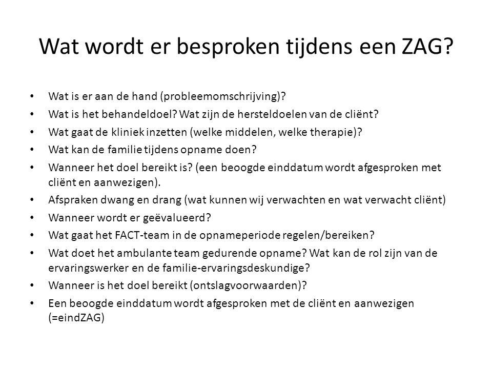Wat wordt er besproken tijdens een ZAG.• Wat is er aan de hand (probleemomschrijving).