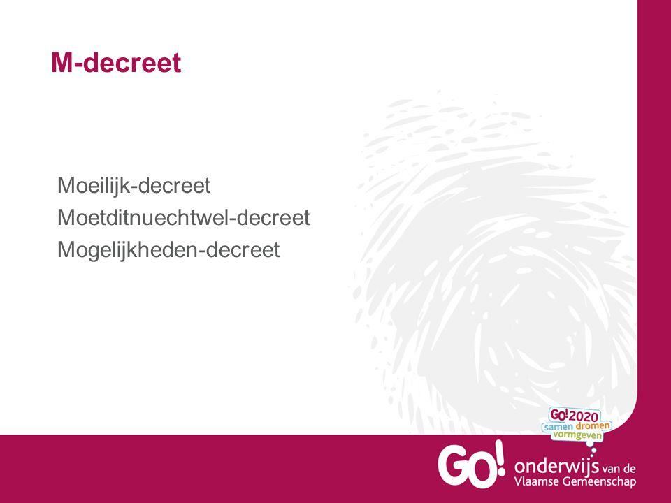 M-decreet Moeilijk-decreet Moetditnuechtwel-decreet Mogelijkheden-decreet