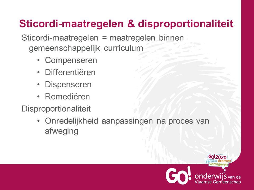 Sticordi-maatregelen & disproportionaliteit Sticordi-maatregelen = maatregelen binnen gemeenschappelijk curriculum •Compenseren •Differentiëren •Dispe