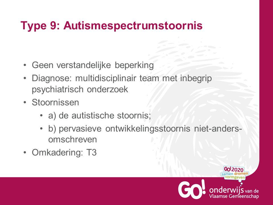 Type 9: Autismespectrumstoornis •Geen verstandelijke beperking •Diagnose: multidisciplinair team met inbegrip psychiatrisch onderzoek •Stoornissen •a)
