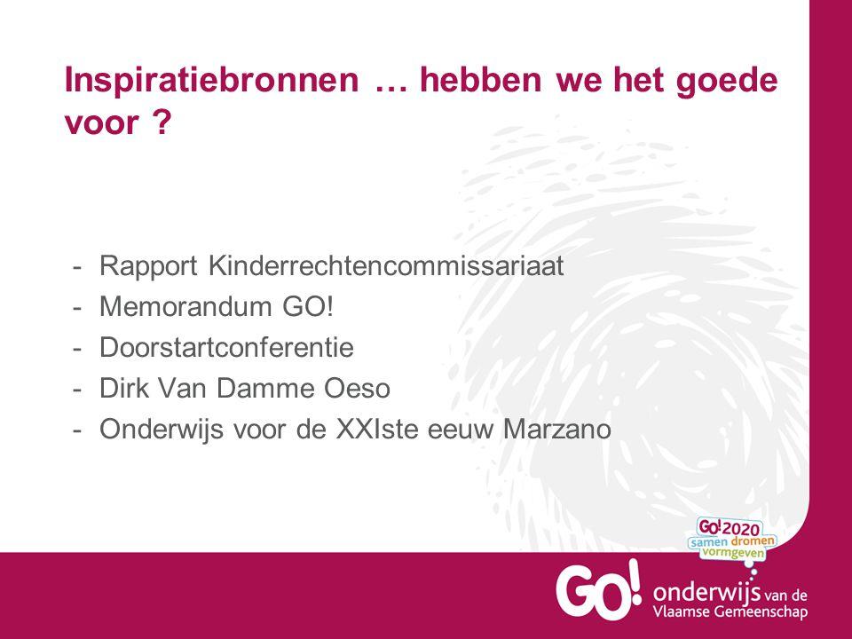 Inspiratiebronnen … hebben we het goede voor ? -Rapport Kinderrechtencommissariaat -Memorandum GO! -Doorstartconferentie -Dirk Van Damme Oeso -Onderwi