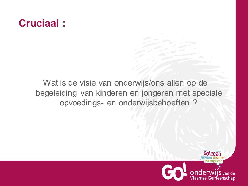 Cruciaal : Wat is de visie van onderwijs/ons allen op de begeleiding van kinderen en jongeren met speciale opvoedings- en onderwijsbehoeften ?