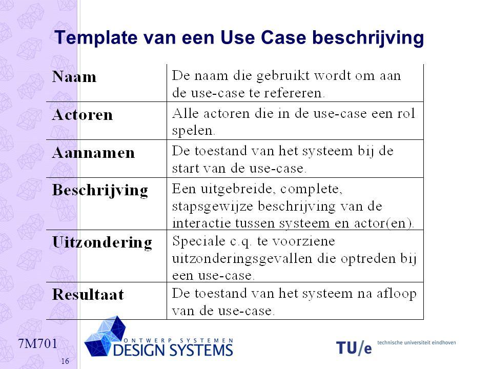 7M701 16 Template van een Use Case beschrijving