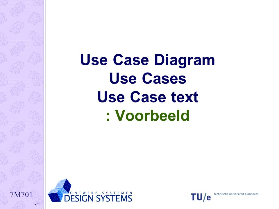 7M701 31 Use Case Diagram Use Cases Use Case text : Voorbeeld
