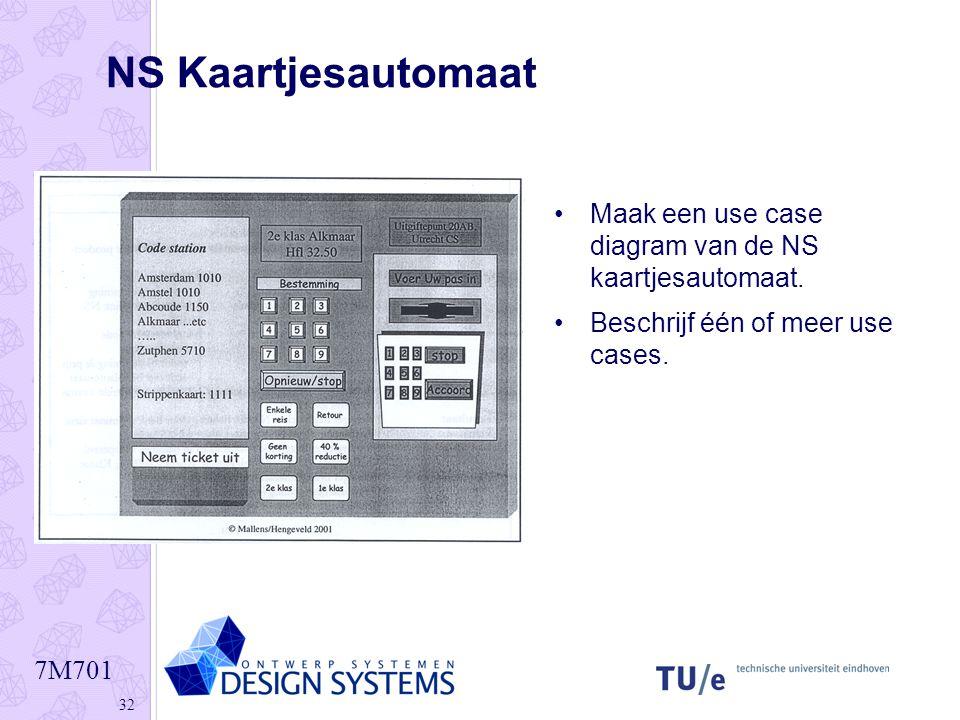 7M701 32 NS Kaartjesautomaat •Maak een use case diagram van de NS kaartjesautomaat. •Beschrijf één of meer use cases.
