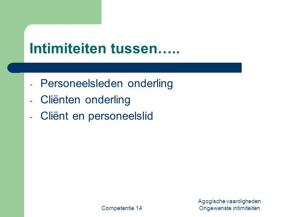 Competentie 14 Agogische vaardigheden Ongewenste intimiteiten Intimiteiten tussen….. - Personeelsleden onderling - Cliënten onderling - Cliënt en pers