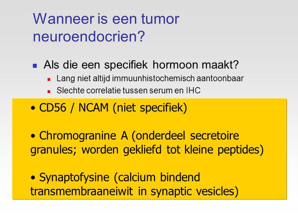Wanneer is een tumor neuroendocrien. Als die een specifiek hormoon maakt.