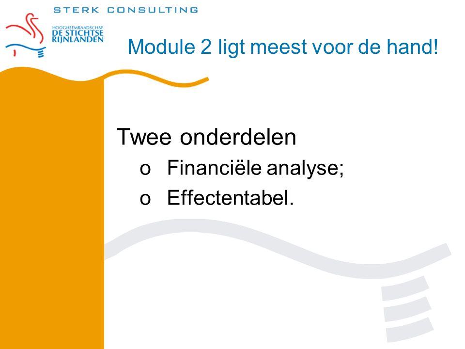 Twee onderdelen oFinanciële analyse; oEffectentabel. Module 2 ligt meest voor de hand!
