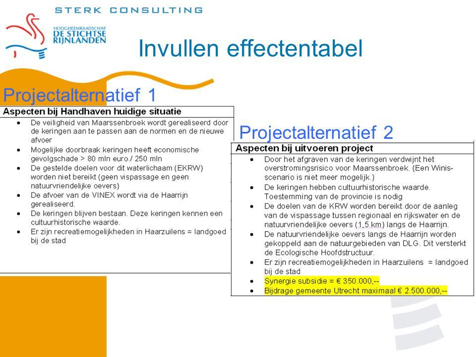Invullen effectentabel Projectalternatief 1 Projectalternatief 2