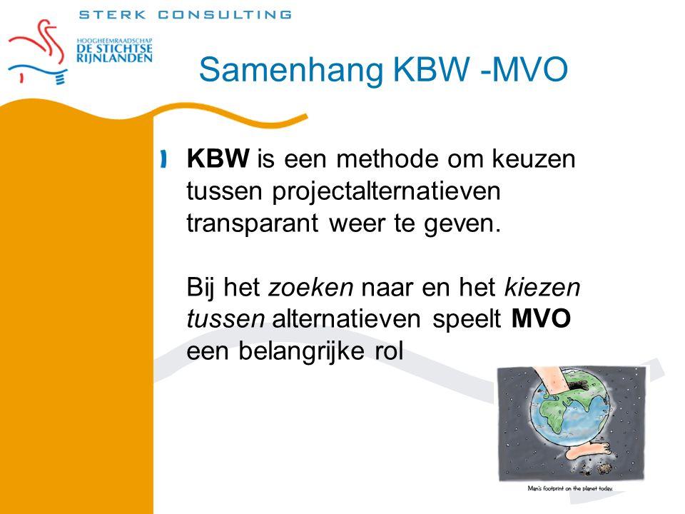 Samenhang KBW -MVO KBW is een methode om keuzen tussen projectalternatieven transparant weer te geven.