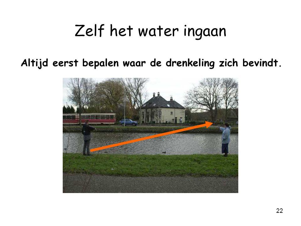 21 Zelf het water ingaan Altijd eerst bepalen waar de drenkeling zich bevindt.