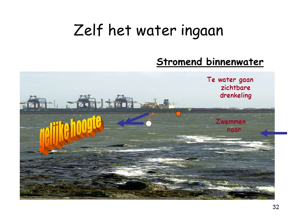 31 Zelf het water ingaan Stromend binnenwater è Rivieren è ten opzichte van stilstaand water --> Vaak è moeilijker en è gevaarlijker è drenkeling drijft mee met stroom