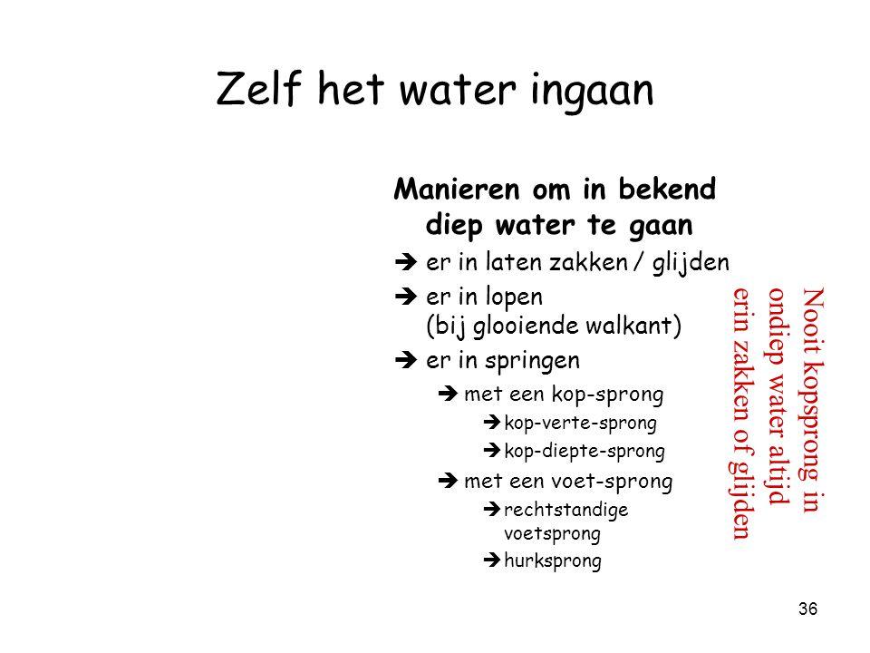 35 Zelf het water ingaan Nooit kopsprong in ondiep water altijd erin zakken of glijden In bekend water gaan è Spring er niet zomaar in!!.