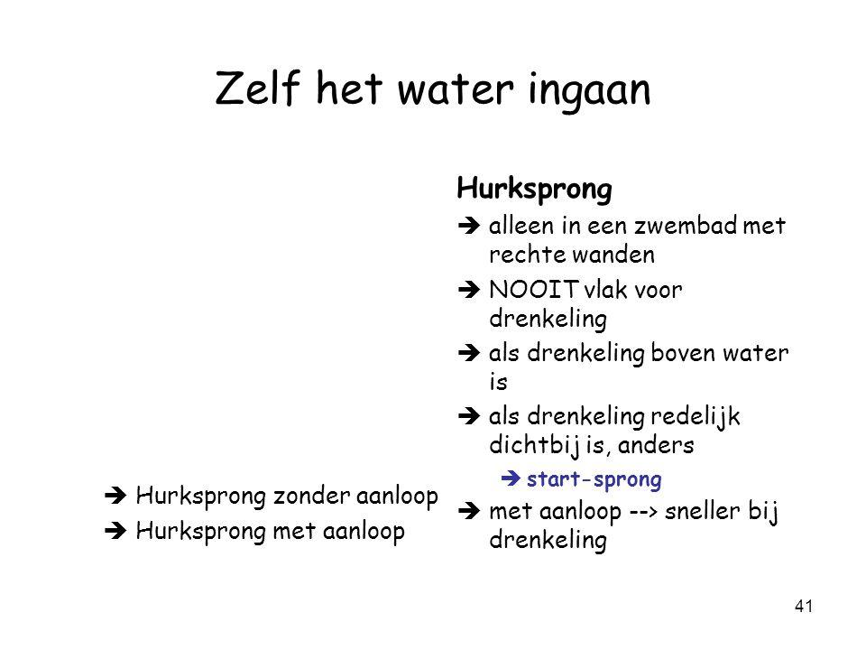 40 Zelf het water ingaan Rechtstandige sprong Geen uitleg