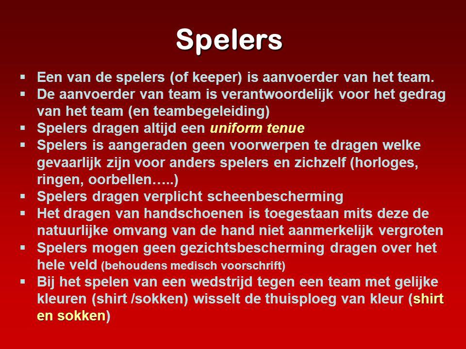 Spelers  Een van de spelers (of keeper) is aanvoerder van het team.  De aanvoerder van team is verantwoordelijk voor het gedrag van het team (en tea