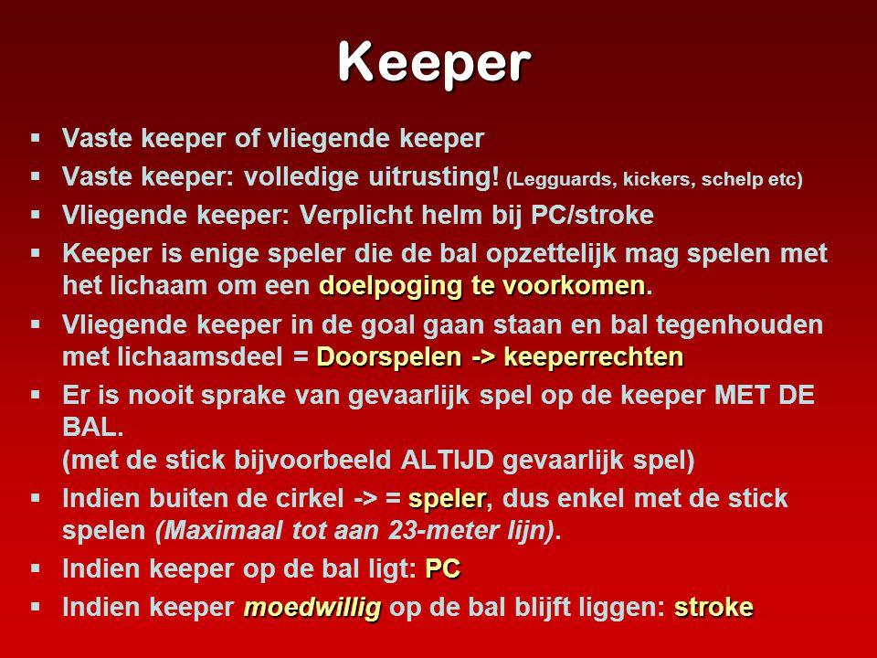 Keeper  Vaste keeper of vliegende keeper  Vaste keeper: volledige uitrusting! (Legguards, kickers, schelp etc)  Vliegende keeper: Verplicht helm bi
