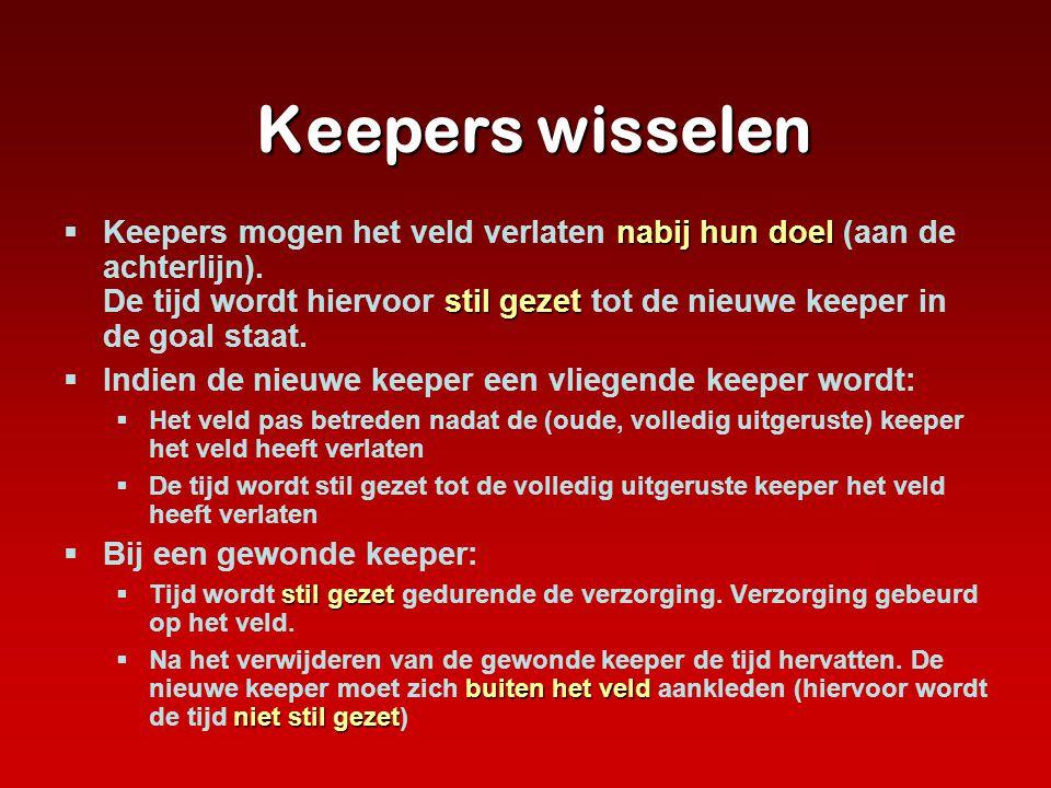 Keepers wisselen Keepers wisselen nabij hun doel stilgezet  Keepers mogen het veld verlaten nabij hun doel (aan de achterlijn). De tijd wordt hiervoo