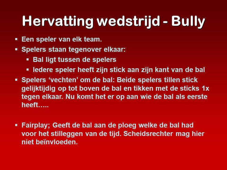 Hervatting wedstrijd - Bully  Een speler van elk team.  Spelers staan tegenover elkaar:  Bal ligt tussen de spelers  Iedere speler heeft zijn stic