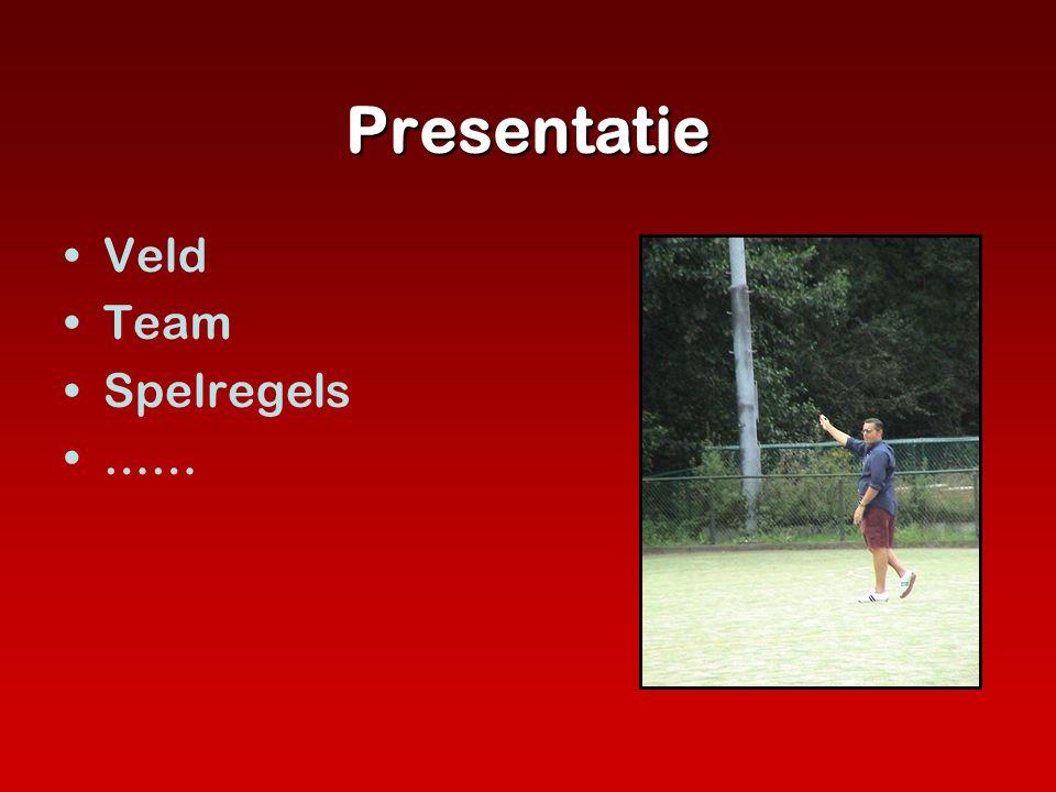 Presentatie •Veld •Team •Spelregels •……