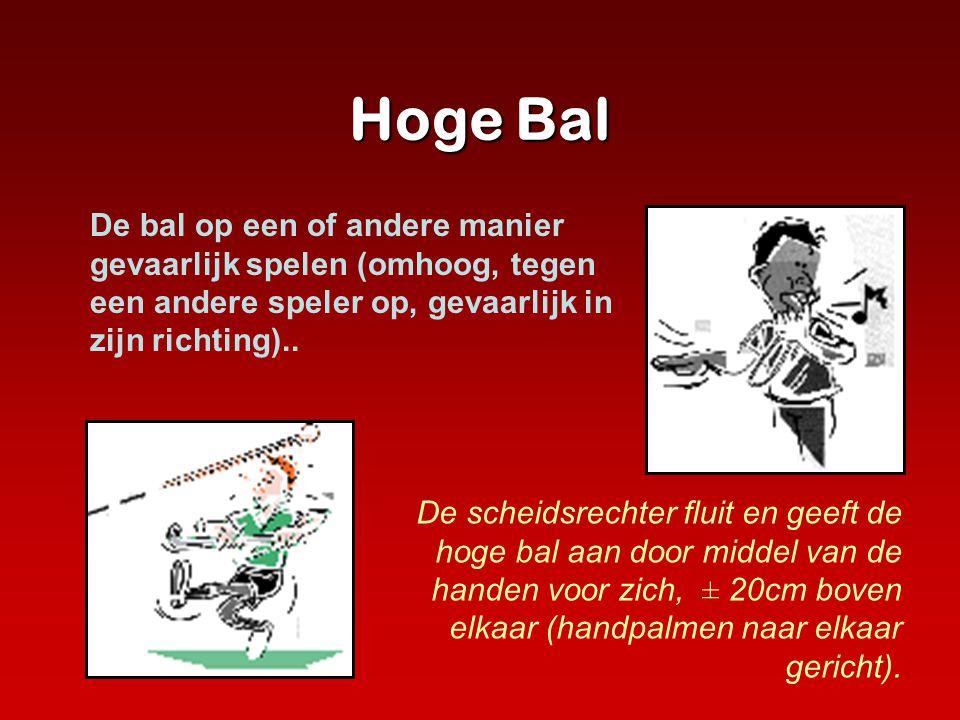 Hoge Bal De scheidsrechter fluit en geeft de hoge bal aan door middel van de handen voor zich, ± 20cm boven elkaar (handpalmen naar elkaar gericht). D
