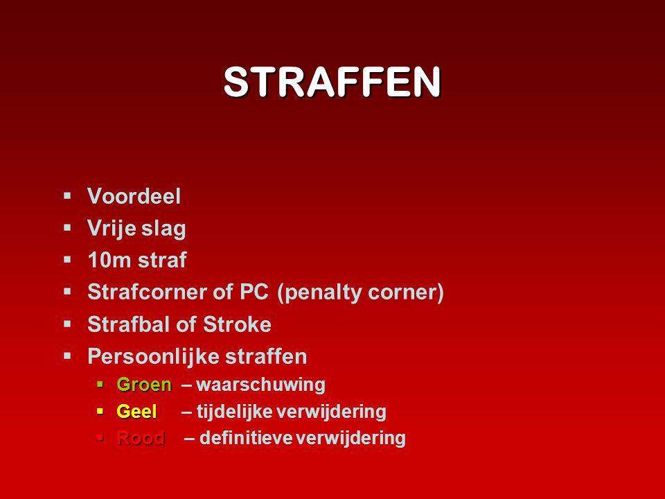 STRAFFEN  Voordeel  Vrije slag  10m straf  Strafcorner of PC (penalty corner)  Strafbal of Stroke  Persoonlijke straffen  Groen  Groen – waars