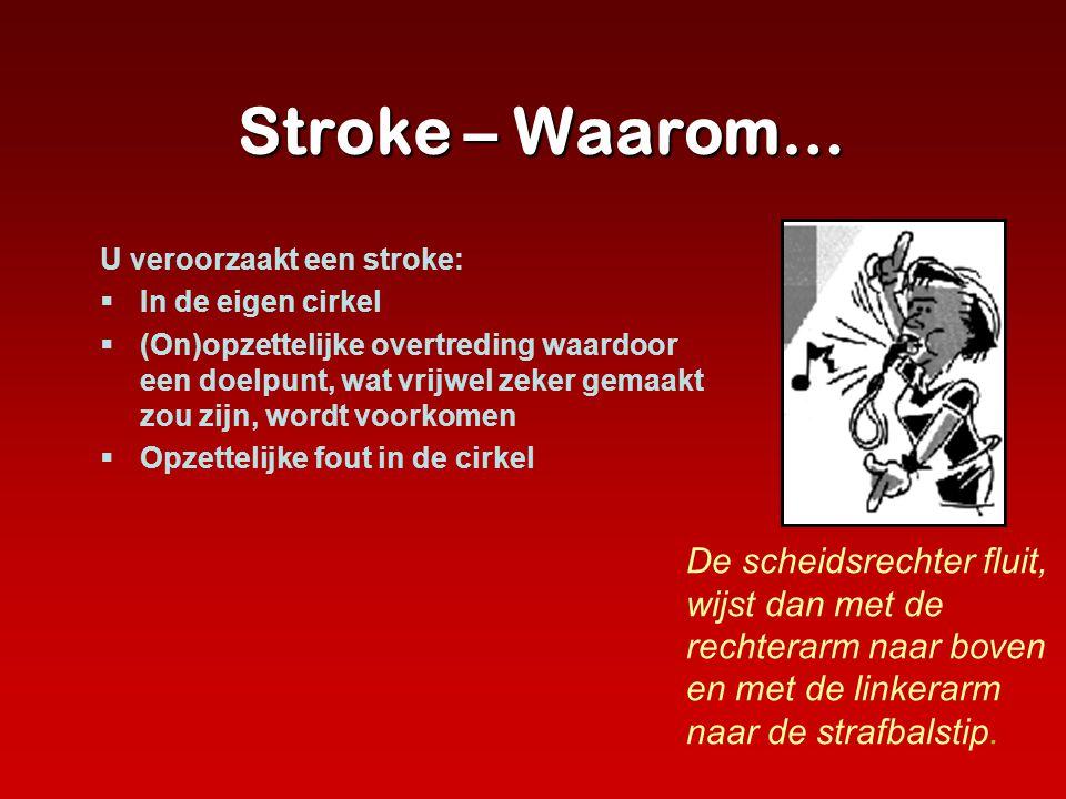 Stroke – Waarom… U veroorzaakt een stroke:  In de eigen cirkel  (On)opzettelijke overtreding waardoor een doelpunt, wat vrijwel zeker gemaakt zou zi