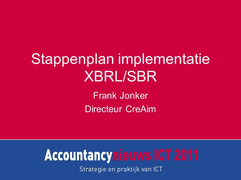 Stappenplan implementatie XBRL/SBR Frank Jonker Directeur CreAim