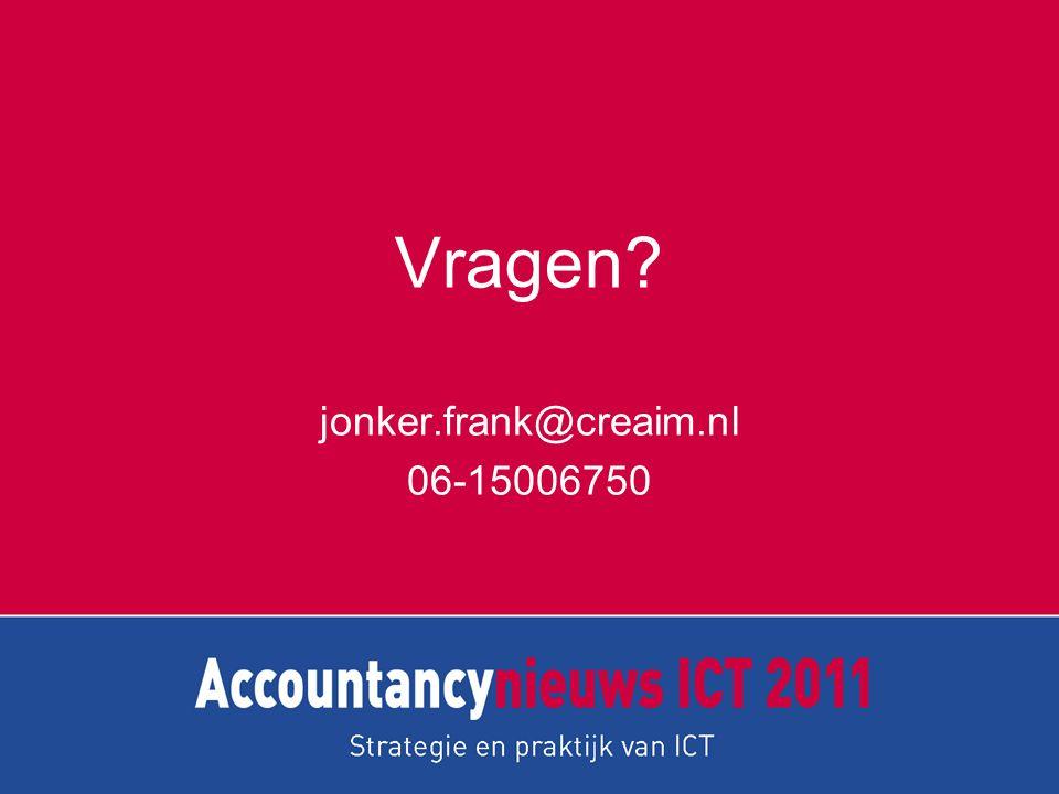 Vragen? jonker.frank@creaim.nl 06-15006750
