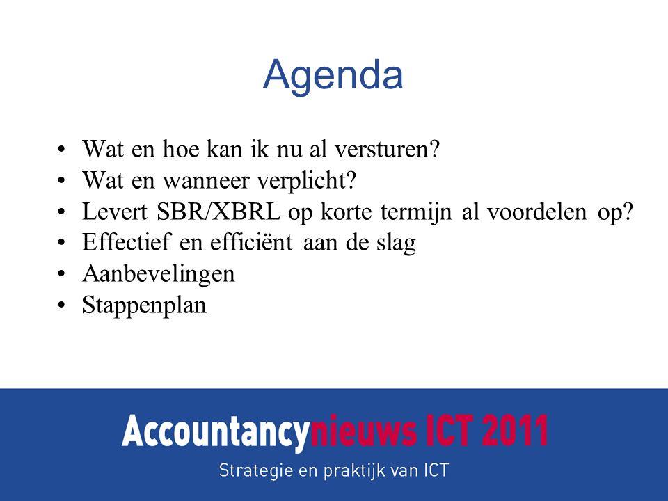 Agenda •Wat en hoe kan ik nu al versturen? •Wat en wanneer verplicht? •Levert SBR/XBRL op korte termijn al voordelen op? •Effectief en efficiënt aan d