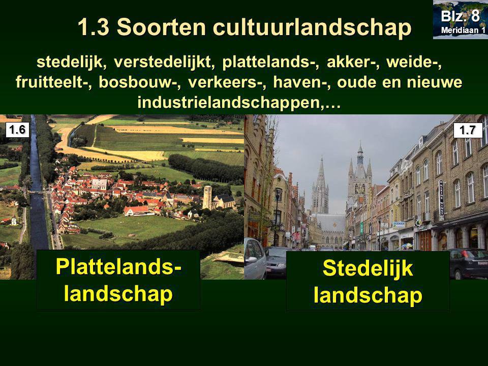 stedelijk, verstedelijkt, plattelands-, akker-, weide-, fruitteelt-, bosbouw-, verkeers-, haven-, oude en nieuwe industrielandschappen,… Plattelands- landschap Stedelijk landschap 1.6 1.7 Meridiaan 1 Meridiaan 1 Blz.